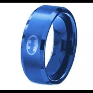 Blue 8mm Men's Stainless Steel Batman Band size 7